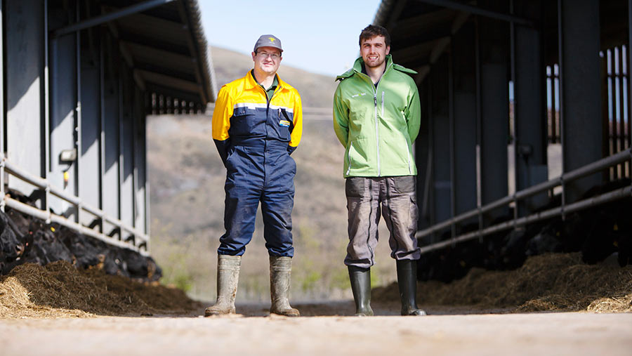 Farms manager Sion Williams with assistant farms manager Harry Aynsley