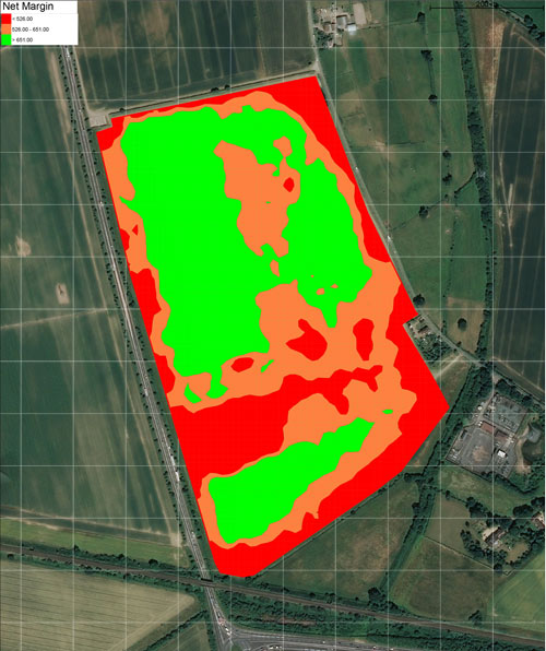 Satellite view of field with coloured areas overlaid