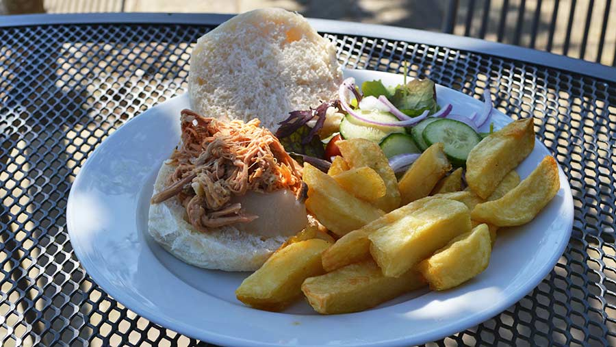 Ludlow Kitchen café's pulled pork bap with chips © David Jones/RBI