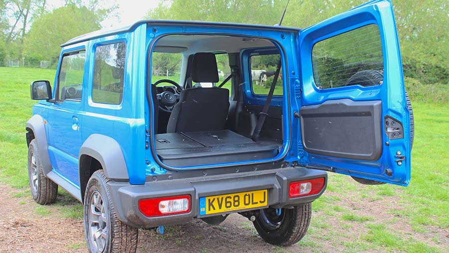 Suzuki Jimny from the back with boot open