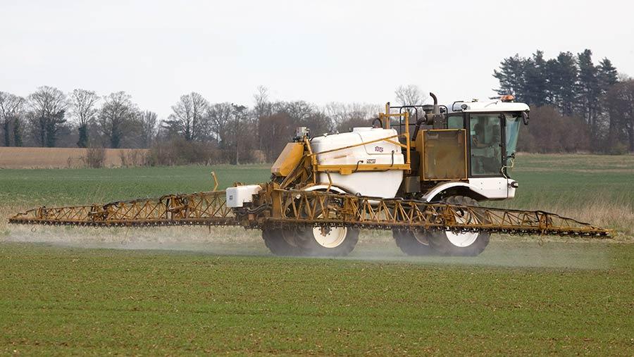 Self-propelled sprayer spraying wheat in autumn