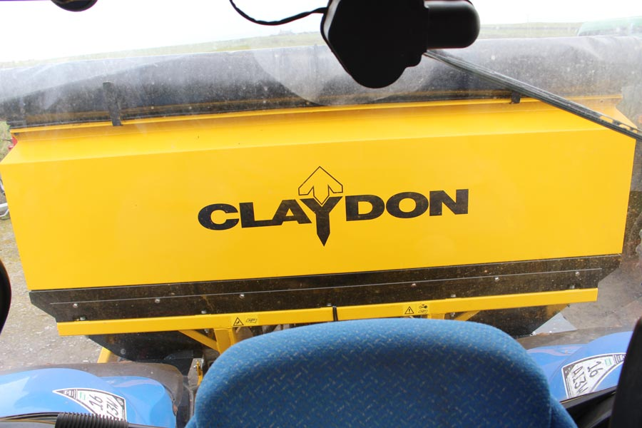 Rear view from cab seat of Claydon Hybrid drill
