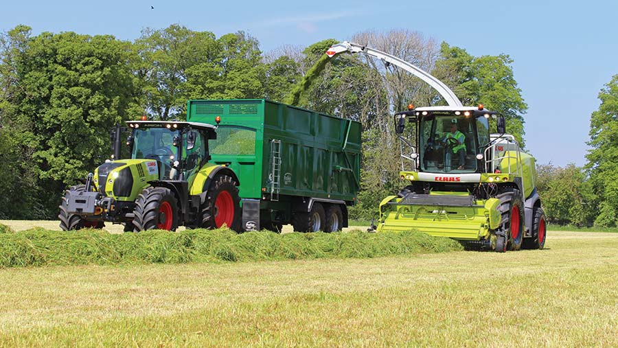 Claas 850 forager in action at Scotgrass 2019
