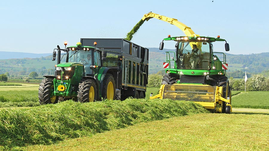 John Deere 9900i in action at Scotgrass 2019