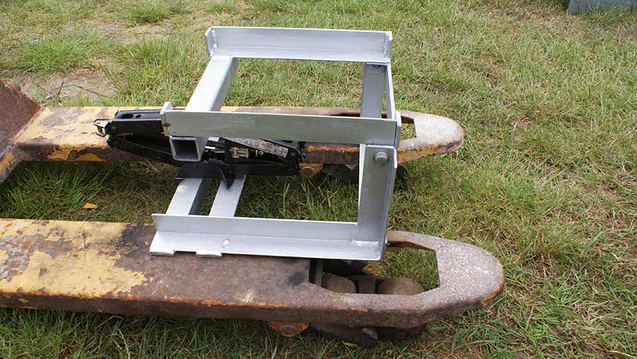 Michael Beckett's winning entry in the 'Gadgets' section - a portable lifting platform for replacing tractor engines.