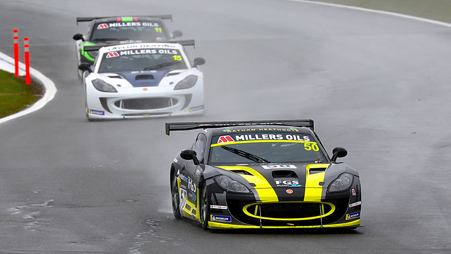 Nathan Heathcote racing in Ginetta GT4 car