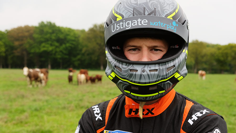 Nathan Heathcote with cows