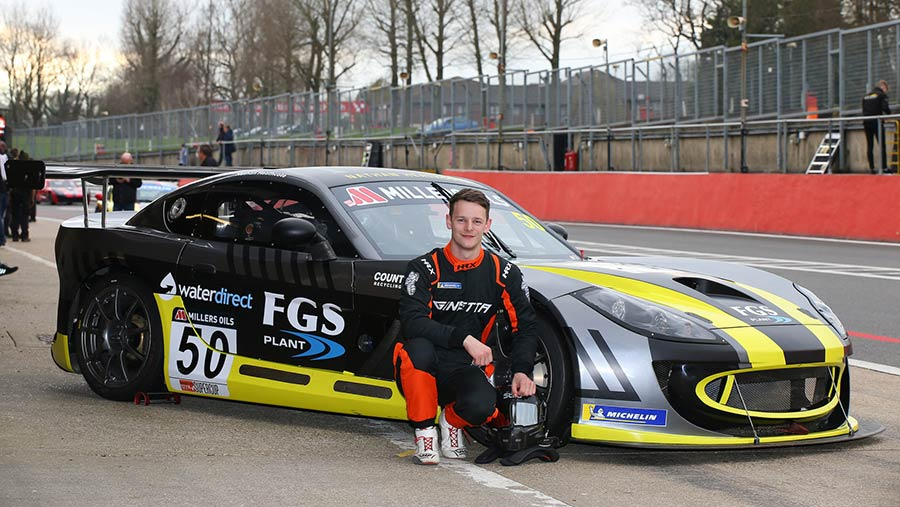 Nathan Heathcote with Ginetta GT4 race car