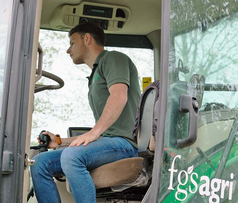 Nathan Heathcote in tractor cab