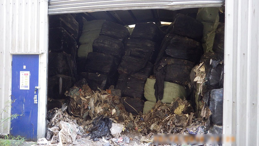 Waste bales in a shed