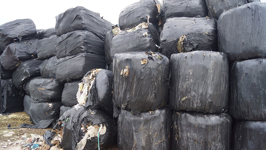 Waste wrapped in bales