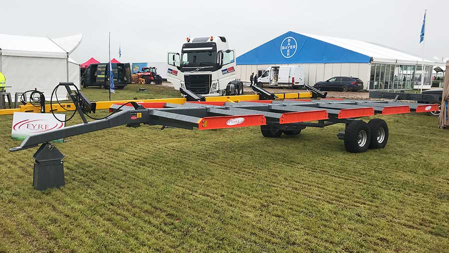 An agricultural trailer.