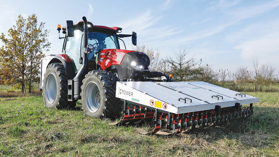 The ZPower mounted on a tractor in a crop