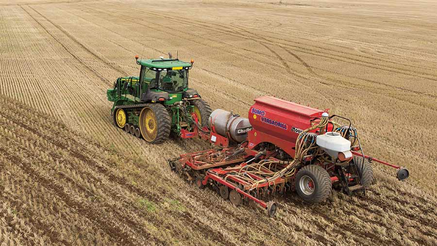 Oilseed rape being drilled