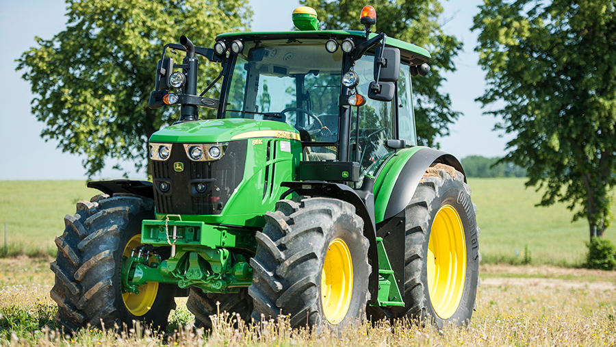 John Deere tractor with Continental tyres