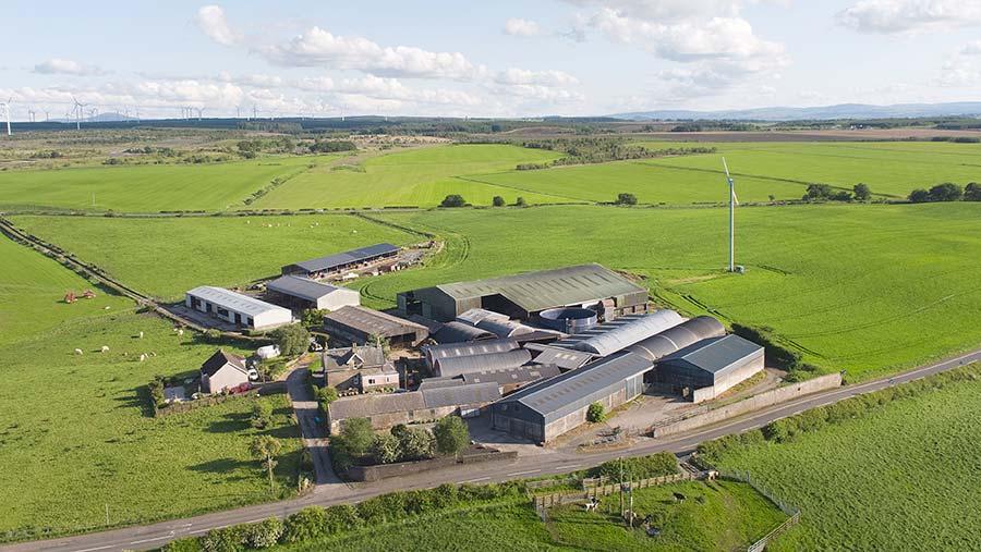 Aerial view of East Tarbrax Farm