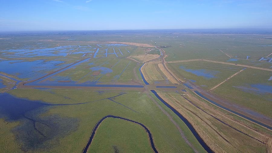 Aerial view of Halvergate Marshes
