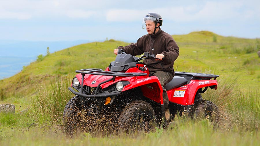 Side view of Can-Am quad bike