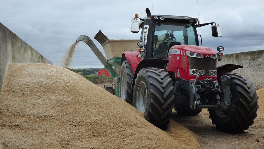 Tractor crimping grain
