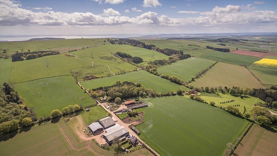 Aerial view of Johnston Mains Farm