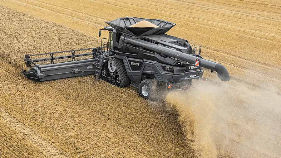 A black combine harvester