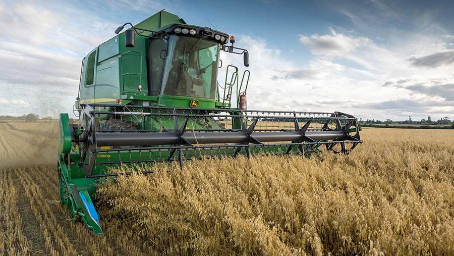 Combine harvesting oats