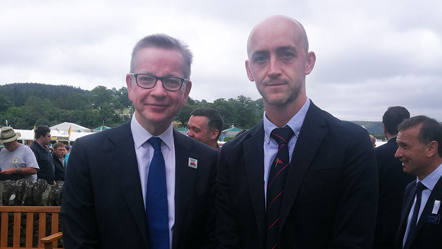 Michael Gove with Farmers Weekly news editor Philip Case at the show