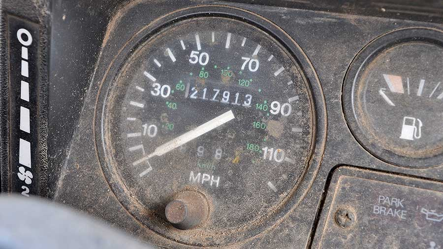 Odometer of the Defender reading 217,913 miles