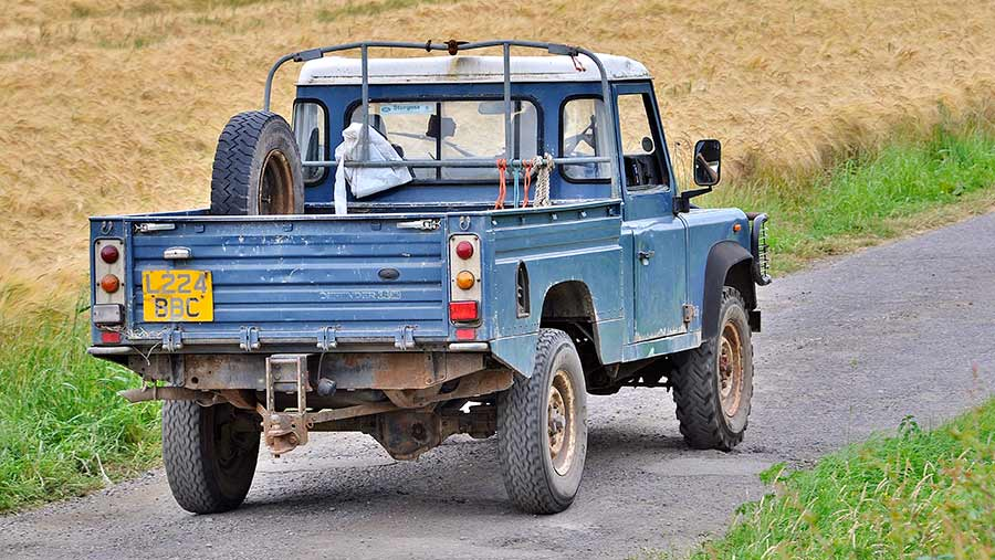 Rear view of Defender