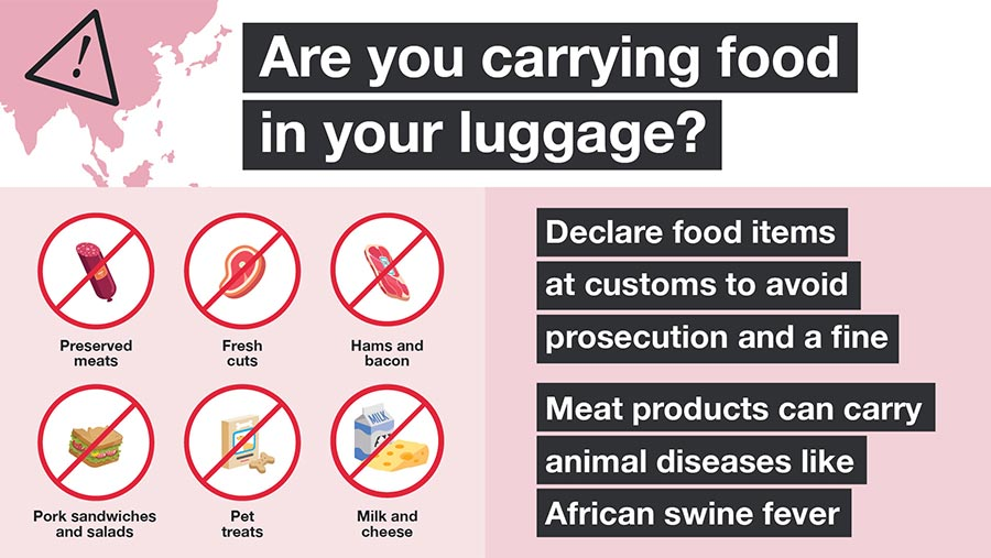 Defra poster with headline Are you carrying food in your luggage?