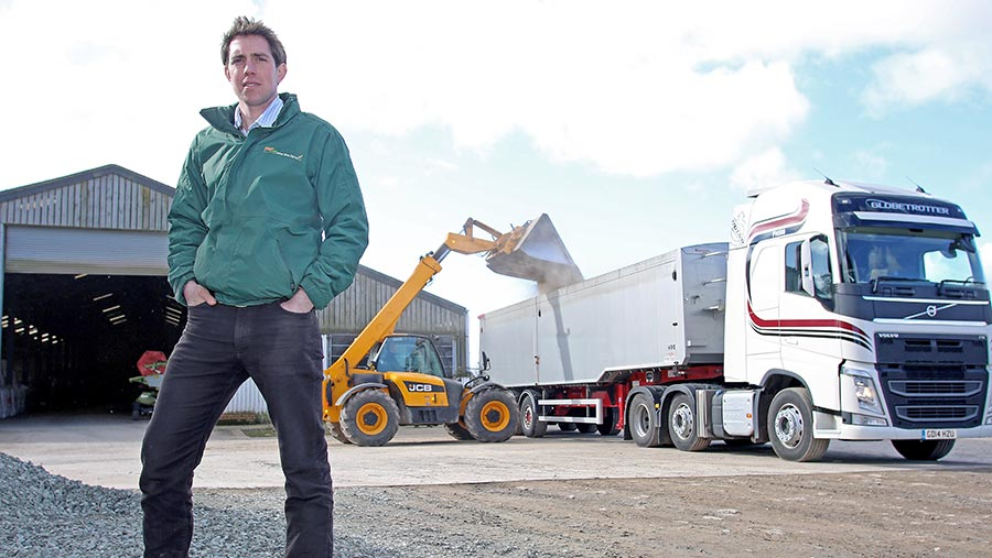 Jack with some grain being tipped into a lorry