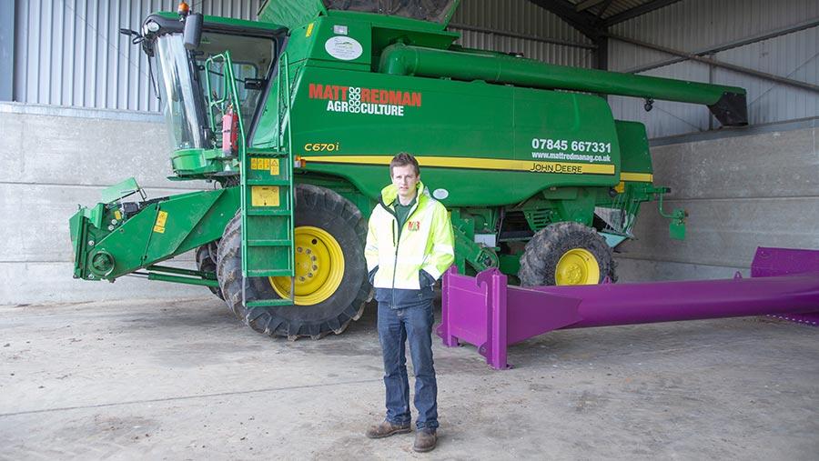 Matt with his combine harvester