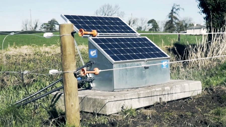 A solar panel on a water trough