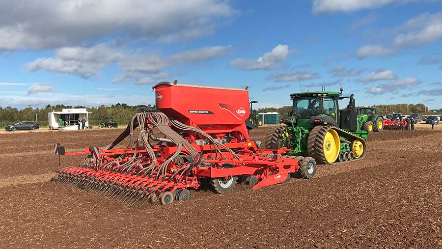 A drill on working display at Tillage Live 2018