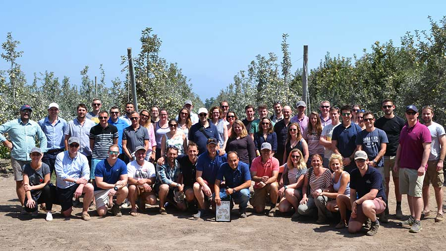 Alex Myatt with Next Gen Fruit Growers group in Chile