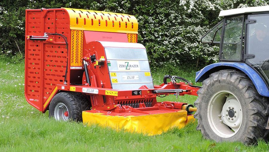 Minigrazer behind tractor