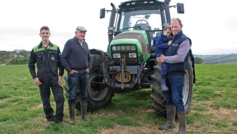 Oliver, Chris, Thomas and Paul in front of Deutz tractor
