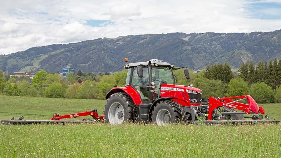 Massey Ferguson tractor working in a field