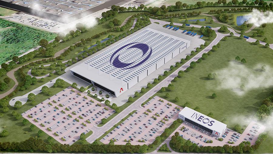 Aerial view of proposed Ineos Bridgend factory Press image © Ineos Automotive