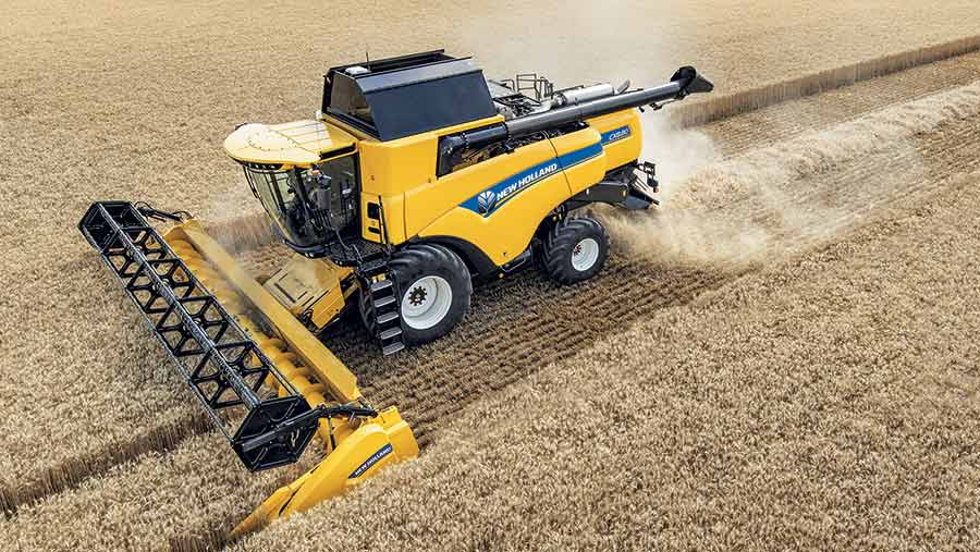Aerial view of New Holland CX8 working in a crop