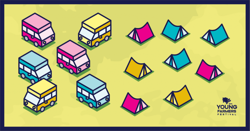 Young Farmers Festival 2020 campsite and caravans