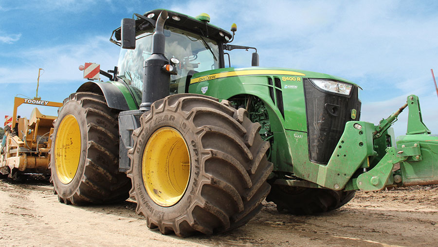 John Deere tractor with Goodyear tyres