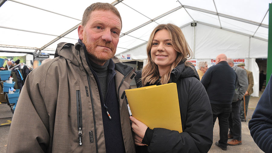 Chris Mossman and his daughter Lottie gathering signatures at the Welsh Dairy Show © Debbie James