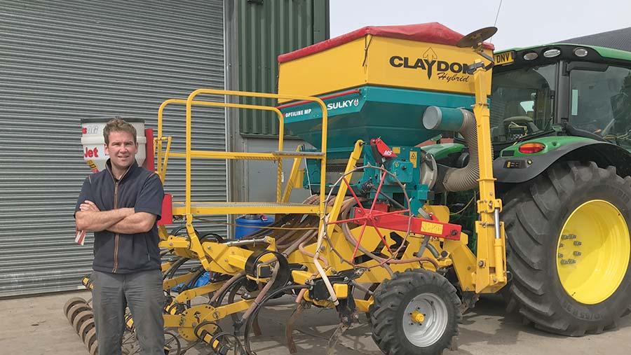 Farmer Michael Kavanagh and his Claydon drill