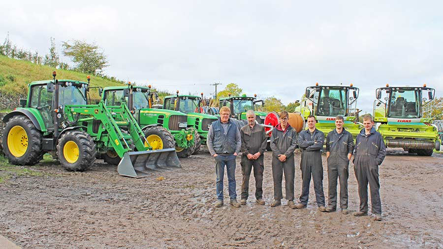 Graham Hayllar and his team with tractor