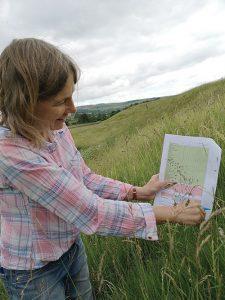 Annabelle LePage surveying species-rich grassland pilot site
