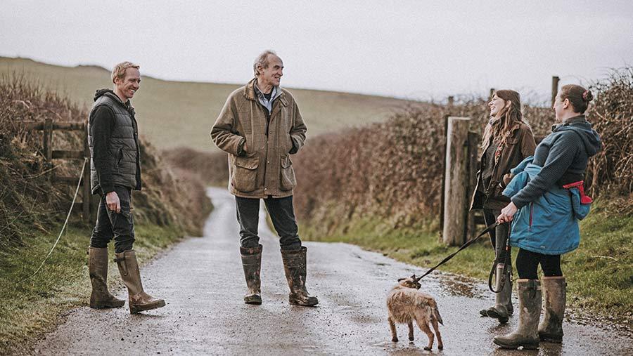 Greig family on farm