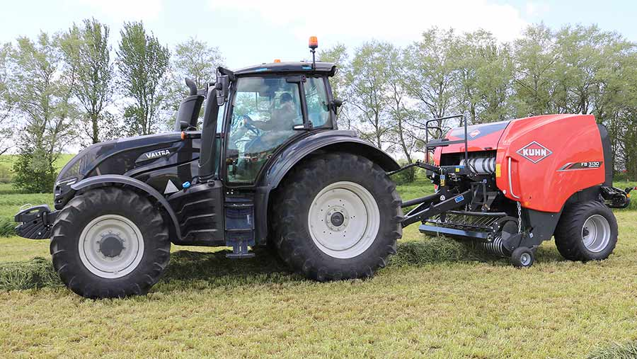 Kuhn FB baler and Valtra tractor 300
