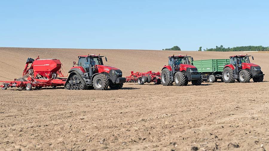 Case IH tractors in field