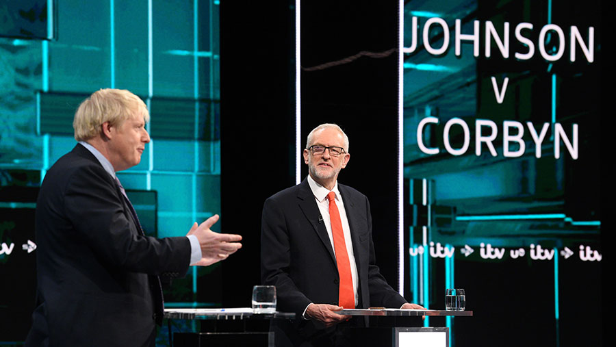 Jeremy Corbyn and Boris Johnson during a live debate © Photographer Jonathan Hordle/ITV/Shutterstock